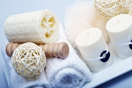 bathroom interior: Bath-Spa Theme - Bathroom Kit. Towels, Sponges and Candles.