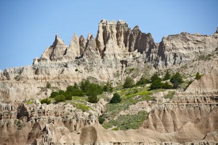 geologic: Badlands Formations - Eroded Sandstones. The Badlands Were Formed by the Geologic Forces of Deposition and Erosion. Badlands, SD, USA. Nature Photo Collection.