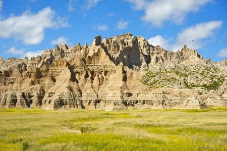 geologic: Badlands Has Been Formed by the Geologic Forces of Deposition and Erosion. Badlands National Park Landscape.