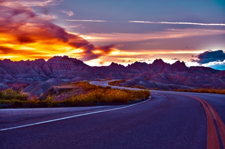 HDR Badlands Sunset and Badlands National Park Loop Road. HDR Photography. U.S. National Parks Photo Collection. Stock Photo - 14301552