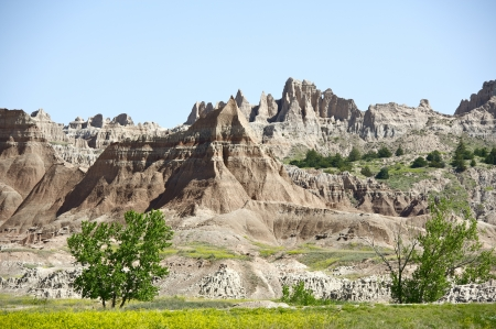 extensively: Badlands Landscape. Badlands National Park, South Dakota, USA. Badlands is a Type of Dry Terrain Where Softer Sedimentary Rocks and Clay-Rich Soils Have Been Extensively Eroded. Badlands Landscape - Horizontal Photography.