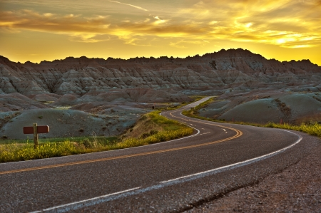 Badlands Highway HDR Sunset. Summer in the Badlands. Loop Road. Travel Photo Collection photo