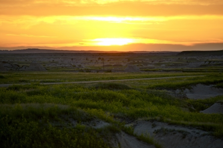 South Dakota Sunset - Badlands Landscape. Western South Dakota. photo
