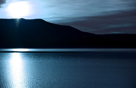 night scenery: Mountain Lake at Night Scenery. Bright Moon Light. Horizontal Photography.