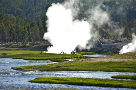 geological: Yellowstone Scenery - Yellowstone Caldera. Half of the Worlds Geothermal Features Are in the Yellowstone. Yellowstone National Park Landscape. Wyoming, USA. Stock Photo