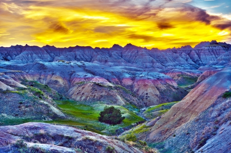 pinnacle: HDR Sunset in The Badlands, South Dakota, USA. High Dynamic Range Photography. HDR Photo Collection.