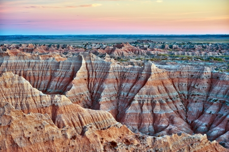 erode: Badlands, South Dakota, USA. Badlands Landscape in HDR Photography