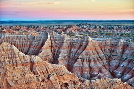 erosion: Badlands, South Dakota, USA. Badlands Landscape in HDR Photography