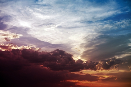 Colorful Sunset - Colorful Summer Cloudy Sky. Nature Photo Collection.  photo