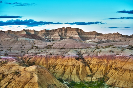 sedimentary: HDR Badlands Formations - HDR Photography. Badlands National Park, South Dakota, USA. Cloudy Blue Horizon, Nature Photo Collection.