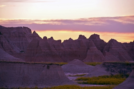 Badlands Wilderness Sunset. South Dakota, USA. Badlands National Park. photo