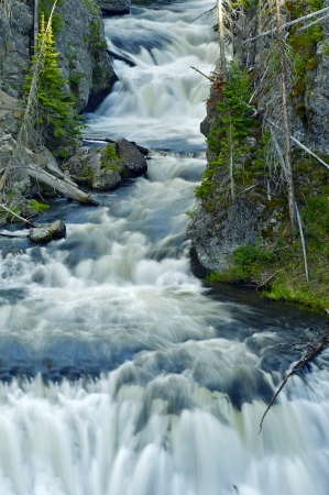 kepler: Kepler Cascades Waterfall - Waterfall on the Firehole River in Southwestern Yellowstone National Park in the United States. Waterfalls Photo Collection.