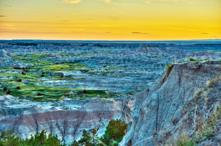 sedimentary: HDR Badlands Sunset Photography. Badlands Wilderness in HDR. Nature Photo Collection. U.S. National Parks. Stock Photo