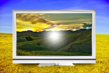 displaying: Earth TV. Plasma TV on the Summer Meadow. Displaying Beautiful Landscape. Travel Theme Illustration.