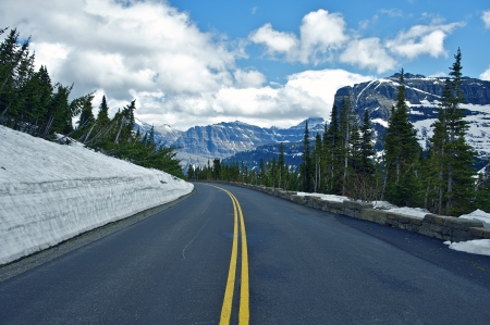 Montana Mountain Road - Glacier National Park. Montana Scenic Drive. Nature Photo Collection photo