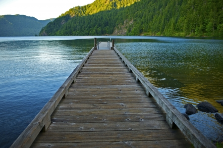 crescent lake: Wood Floating Dock Over Crescent Lake in the Olympic National Park, Washington USA. Washington State Photo Collection.