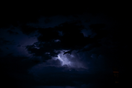 sever: Night Storm - Lightning Storm. Dark Stormy Sky with Lightning Between Clouds. Sever Weather Photo Collection.