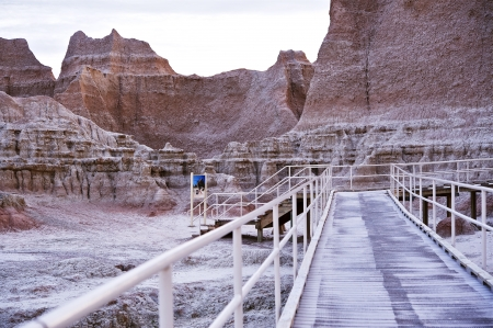 Badlands Exhibition - Walking Thru Badlands Exhibition. Badlands National Park, USA. photo