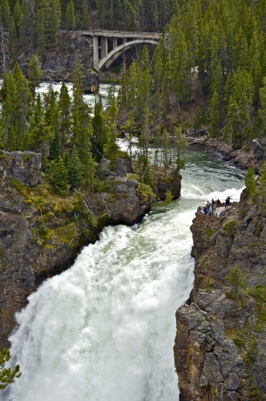 Upper Falls Yellowstone National Park. Vertical Photography. Scenic Upper Waterfalls. Wyoming, USA. Nature Photo Collection. photo