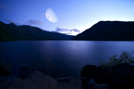 moon fish: Crescent Lake at Night - Washington, U.S.A. Olympic National Park. Nature Photo Collection