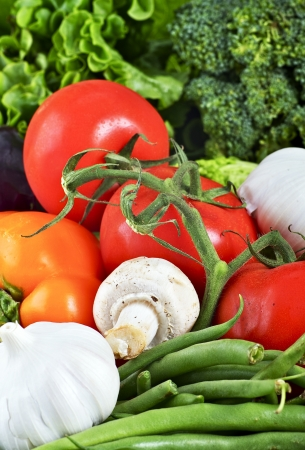 Biologische groenten Close-up - Tafel Studio Photo. Verse smakelijke producten. Eten foto collectie. Stockfoto
