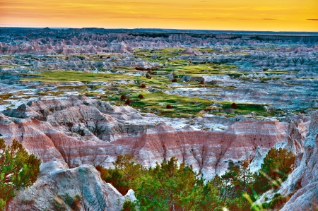hdr: Scenic Badlands Landscape in HDR (HIgh Dynamic Range) Photography. Badlands National Park HDR Sunset Panorama. HDR Nature Photography Collection.