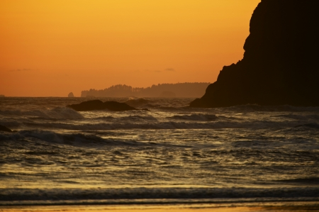 the ocean state: Ocean Shore - Washington State Olympic Peninsula Beach - Sunset. Nature Photo Collection