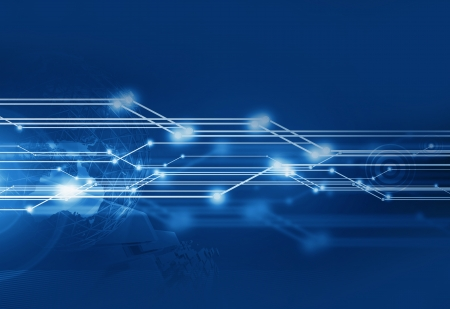transfers: Cool Blue Communication Background - Horizontal Illustration. Global Connections. Technology Illustrations Collection. Stock Photo