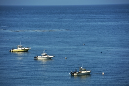 Three Fishing Motorboats on the Ocean - Bird View. Fishing and Boating Theme. Recreation Photo Collection photo