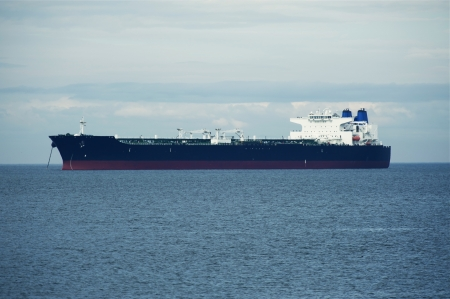 containership: Large Ship on Sea - Transportation and Logistics Photo Collection. Transoceanic Spedition. Stock Photo