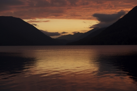 Sunset - Lake Crescent, Olympic Mountains, Washington, USA. Sunsets Photo Collection. photo