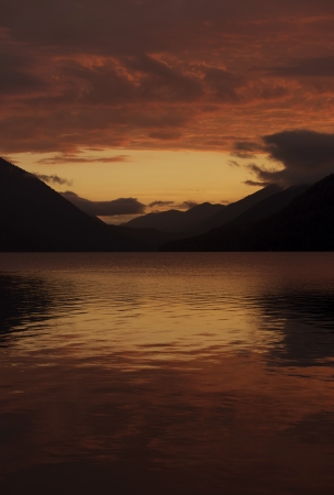 Sunset Scenery - Lake Crescent Sunset, Washington, Olympic Park U.S.A. Vertical Photography. Nature Photo Collection. photo