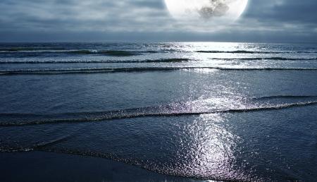 luz de luna: Océano y la Luna. Noche en la playa. Luna grande por completo en el horizonte. Foto Panorámica. Naturaleza Colección de Fotografía.