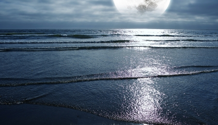 tides: Ocean and the Moon. Night on the Beach. Large Full Moon on the Horizon. Panoramic Photo. Nature Photography Collection.