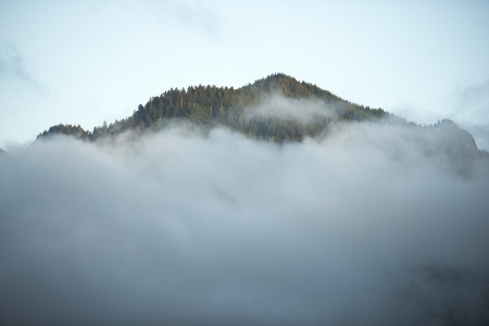 rainfall: Above The Clouds - Mountain Summit Above Clouds. Olympic National Park, Washington USA. Mountains Photo Collection. Stock Photo