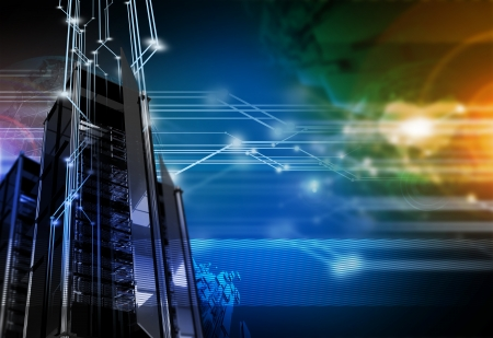Networking Background - High Performance Servers  Hosting Networks Technology Theme. Technology Illustrations Collection Imagens