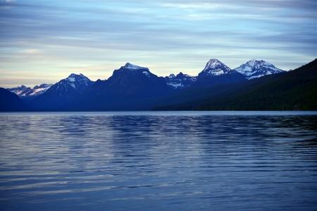 Mountain Range and the Lake. Scenic Montana. Lake McDonald & Glacier National Park. Nature Photography Collection. photo