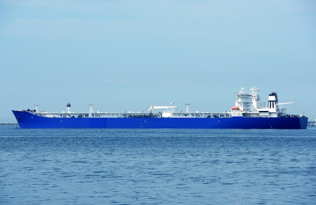 Large Commercial Ship - Blue Empty Commercial Container-Ship. Transportation and Logistic Photo Collection. photo
