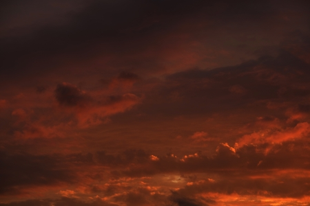 Fire Red Sky Background - Summer Sunset Cloudscape. Nature Photography Collection.