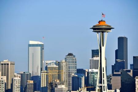 seattle skyline: Seattle Skyline  Daylight. Seattle Downtown Skyline with Space Needle Tower. Seattle, Washington USA. Cities Photo Collection.