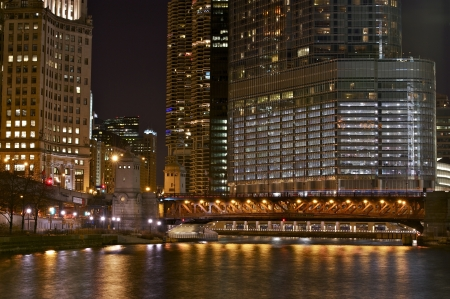 Illuminated Chicago at Night. City Life Chicago. Night Photography of Chicago, Illinois, U.S.A. Illuminated Downtown Chicago. Cities Photography Collection.