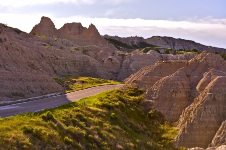 erode: Badlands Scenery - Badlands Loop Road. South Dakota, USA. National Parks Photo Collection. Stock Photo