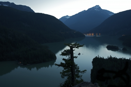 lake diablo: Diablo Lake at Dusk - Diablo Lake in North Cascades National Park, Washington State, USA. Cascades Mountains Scenery.