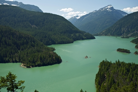 lake diablo: North Cascades National Park, Washington State, U.S.A. - Diablo Lake. Photo Taken From Diablo Lake Overview. North Cascades Photo Collection. Stock Photo
