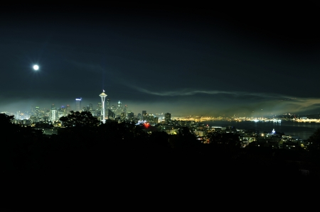 Seattle at Night Panorama - Seattle, Washington, U.S.A. Clear Dark Sky with Moon. Cities Photography Collection.