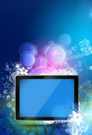 socializando: Tablet Fantasy Theme. Fondo fresco de la fantasía colorida con unos dibujos florales y Tablet moderno con una pantalla azul vacía. Tema Vertical.
