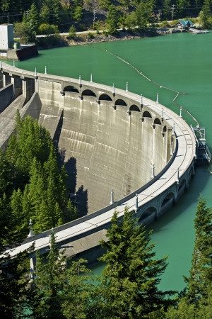 Diablo Dam at Diablo Lake - North Cascades National Park, State of Washington, USA. Nature Power Sources Theme. Green Energy Photo Collection.