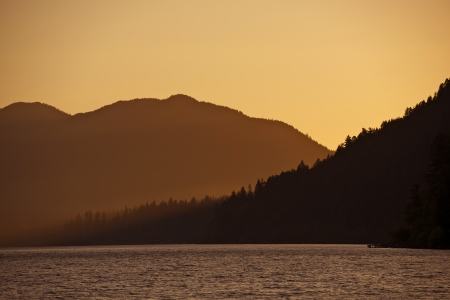 crescent lake: Sunset in the Hills - Lake Crescent Sunset Scenery. Nature Photography Collection.