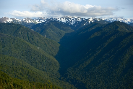 olympic: Pacific Northwest: Olympic Mountains Panorama - The Olympic Mountains is a Mountain Range on the Olympic Peninsula of Western Washington in the United States. Nature Photography Collection Editorial