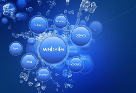 웹 사이트 프로젝트 - 쿨 블루 웹 사이트 프로젝트 그림. 웹 기술 일러스트 콜렉션. 푸른 거품 : 웹 사이트, 사회, 호스팅, 검색 엔진 최적화, 링크, 코딩,